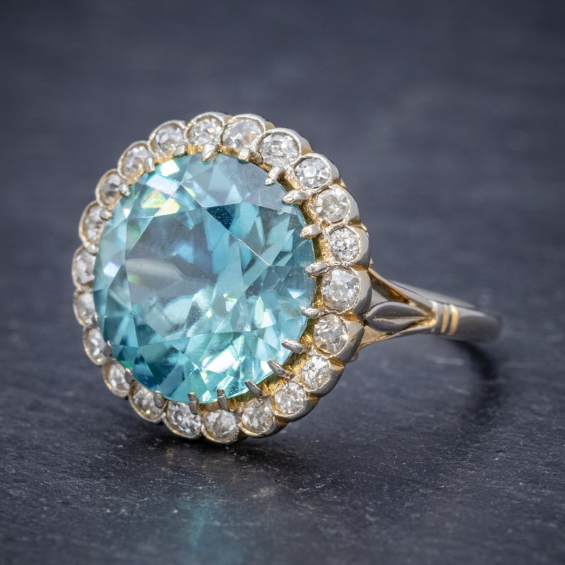 Antique Edwardian 8ct Blue Zircon Cluster Ring Circa 1905 side