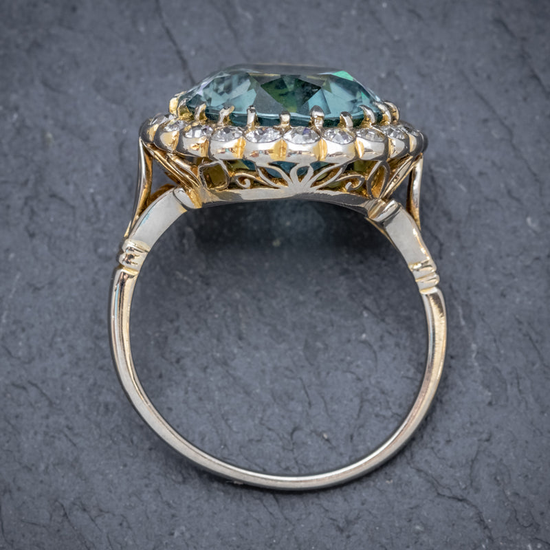 Antique Edwardian 8ct Blue Zircon Cluster Ring Circa 1905 top