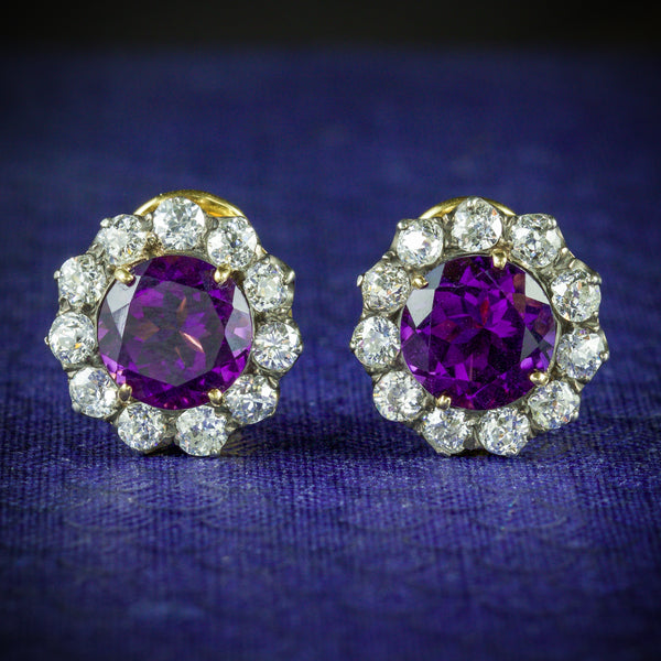ANTIQUE EDWARDIAN AMETHYST DIAMOND EARRINGS 18CT GOLD CIRCA 1910 COVER