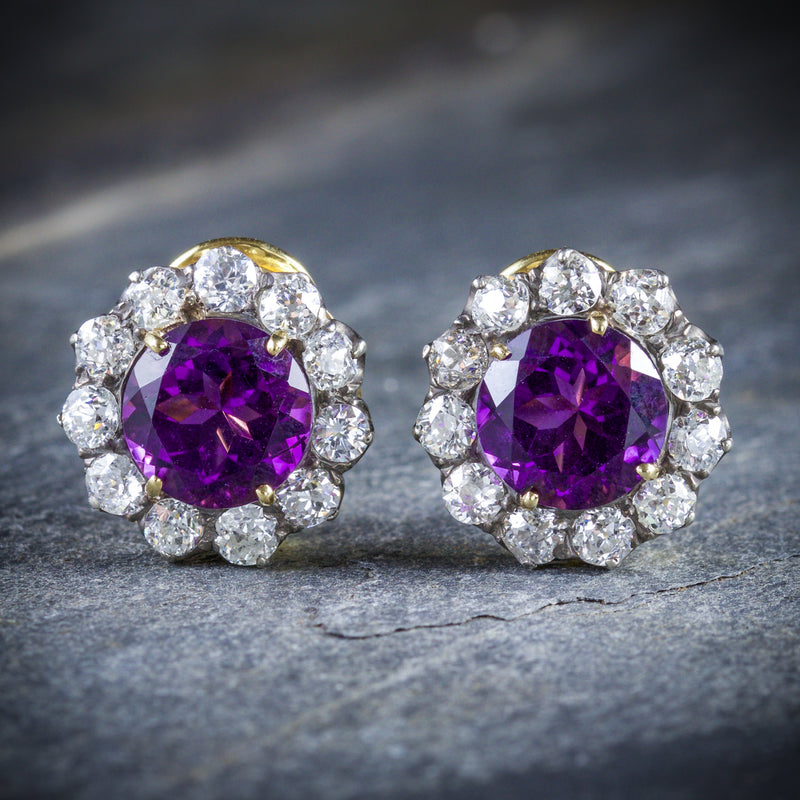 ANTIQUE EDWARDIAN AMETHYST DIAMOND EARRINGS 18CT GOLD CIRCA 1910 FRONT
