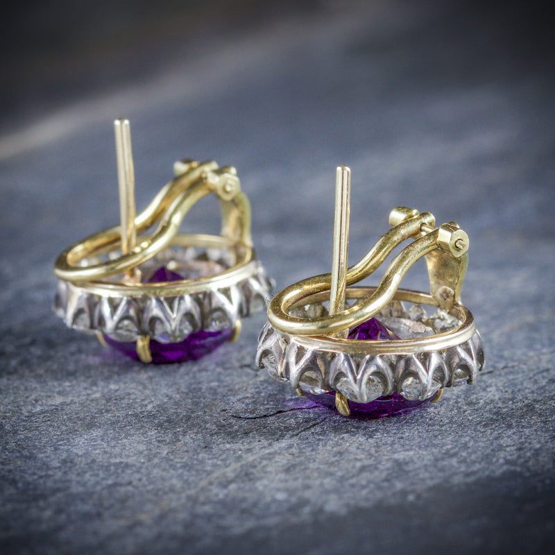 ANTIQUE EDWARDIAN AMETHYST DIAMOND EARRINGS 18CT GOLD CIRCA 1910 SIDE
