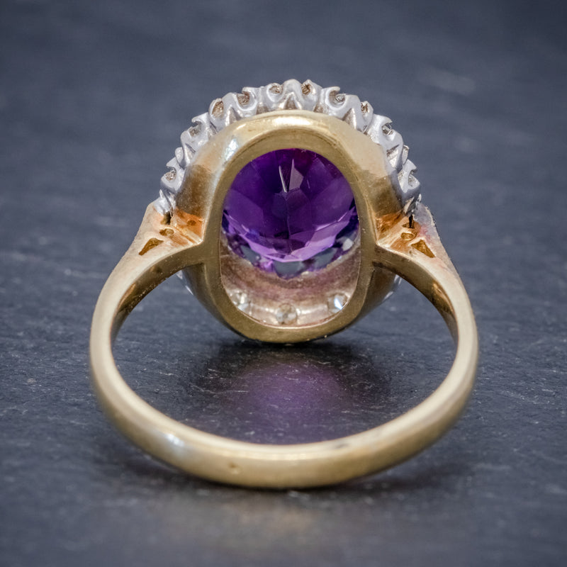 ANTIQUE EDWARDIAN AMETHYST DIAMOND RING 18CT GOLD 3.25CT AMETHYST CIRCA 1915 BACK