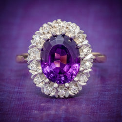 ANTIQUE EDWARDIAN AMETHYST DIAMOND RING 18CT GOLD 3.25CT AMETHYST CIRCA 1915 COVER