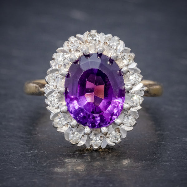 ANTIQUE EDWARDIAN AMETHYST DIAMOND RING 18CT GOLD 3.25CT AMETHYST CIRCA 1915 FRONT