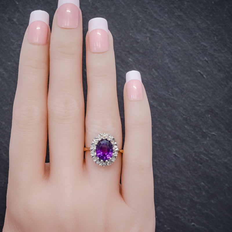 ANTIQUE EDWARDIAN AMETHYST DIAMOND RING 18CT GOLD 3.25CT AMETHYST CIRCA 1915 HAND
