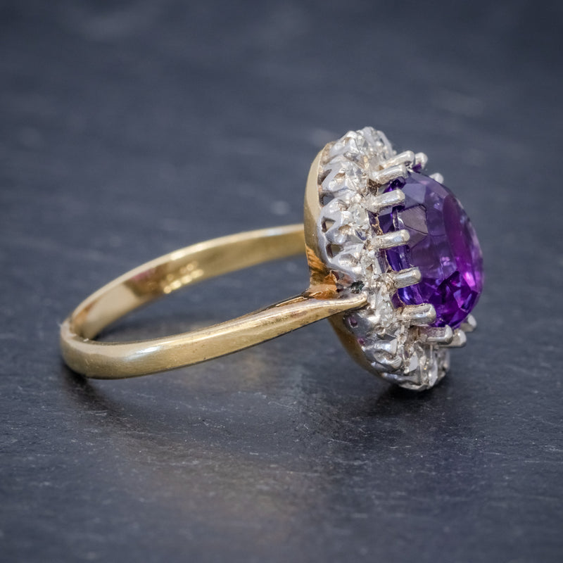 ANTIQUE EDWARDIAN AMETHYST DIAMOND RING 18CT GOLD 3.25CT AMETHYST CIRCA 1915 SIDE2