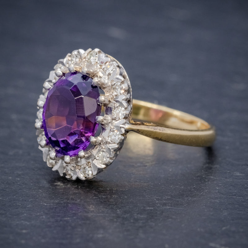 ANTIQUE EDWARDIAN AMETHYST DIAMOND RING 18CT GOLD 3.25CT AMETHYST CIRCA 1915 SIDE