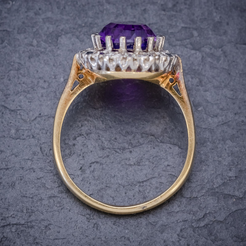 ANTIQUE EDWARDIAN AMETHYST DIAMOND RING 18CT GOLD 3.25CT AMETHYST CIRCA 1915 TOP
