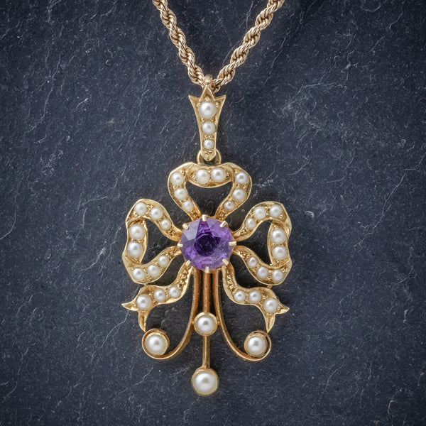 Antique Edwardian Amethyst Pearl Pendant Necklace 15ct Gold Circa 1910 front