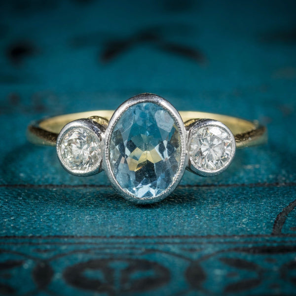 Antique Edwardian Aquamarine Trilogy Ring 18ct Gold Circa 1910 COVER