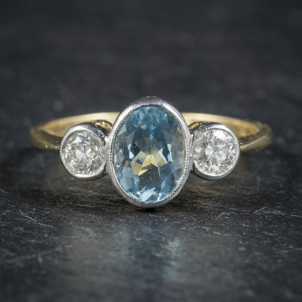 Antique Edwardian Aquamarine Trilogy Ring 18ct Gold Circa 1910 FRONT