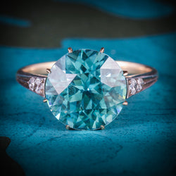 ANTIQUE EDWARDIAN BLUE ZIRCON DIAMOND RING 18CT GOLD 4.50CT BLUE ZIRCON COVER