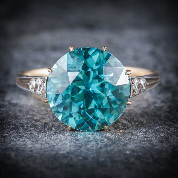 ANTIQUE EDWARDIAN BLUE ZIRCON DIAMOND RING 18CT GOLD 4.50CT BLUE ZIRCON FRONT