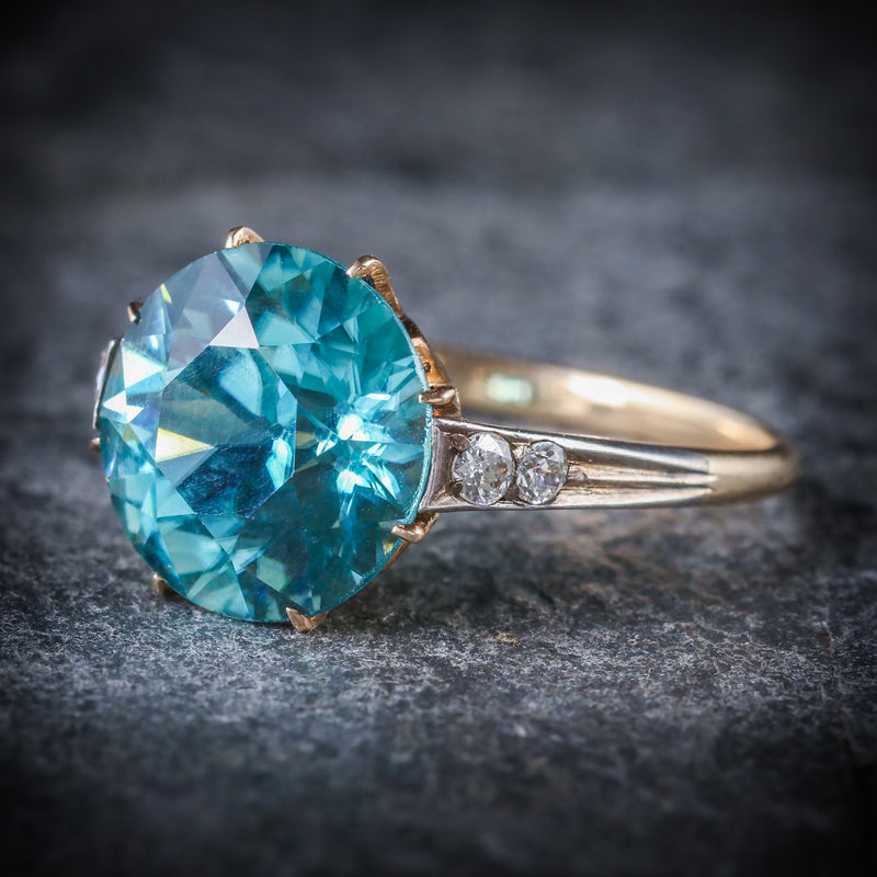 ANTIQUE EDWARDIAN BLUE ZIRCON DIAMOND RING 18CT GOLD 4.50CT BLUE ZIRCON SIDE
