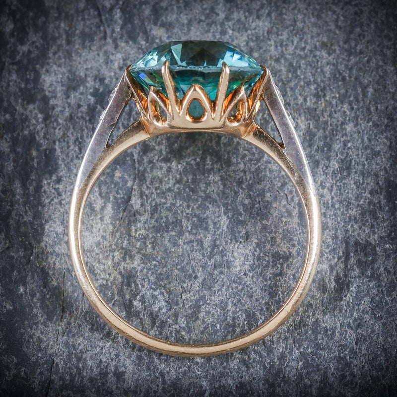 ANTIQUE EDWARDIAN BLUE ZIRCON DIAMOND RING 18CT GOLD 4.50CT BLUE ZIRCON TOP