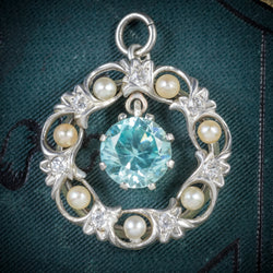 Antique Edwardian Blue Zircon Pendant Diamond Pearl Circa 1915 COVER