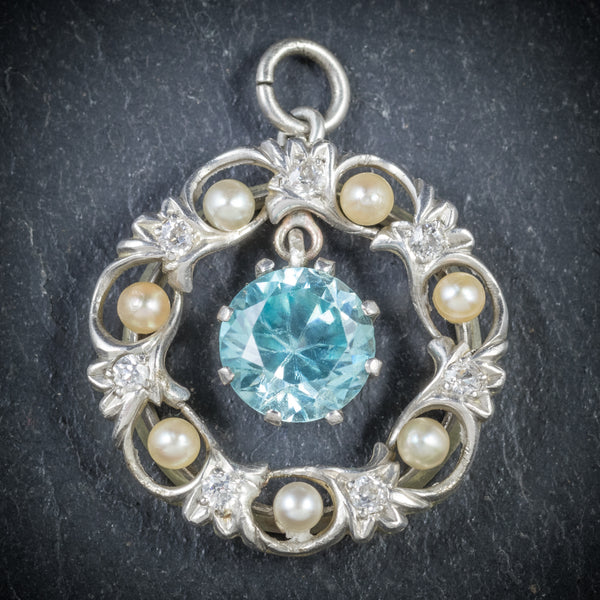 Antique Edwardian Blue Zircon Pendant Diamond Pearl Circa 1915 FRONT
