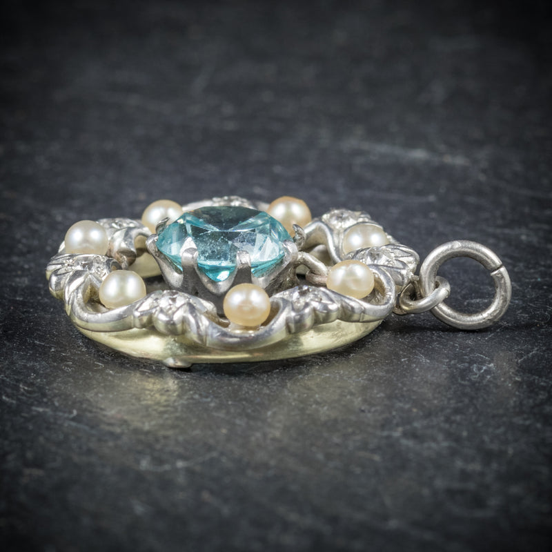 Antique Edwardian Blue Zircon Pendant Diamond Pearl Circa 1915 SIDE
