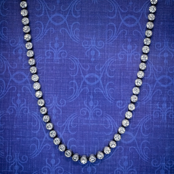 ANTIQUE EDWARDIAN COLLAR PASTE STONE SILVER NECKLACE CIRCA 1910 COVER