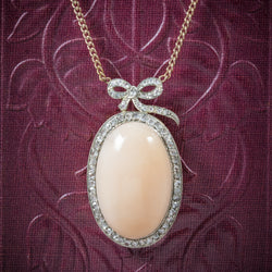 Antique Edwardian Coral Pendant Necklace 18ct Gold Circa 1910 COVER