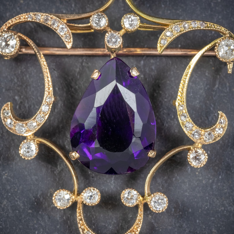 ANTIQUE EDWARDIAN DIAMOND AMETHYST BROOCH 18CT GOLD CIRCA 1910 AMETHYST