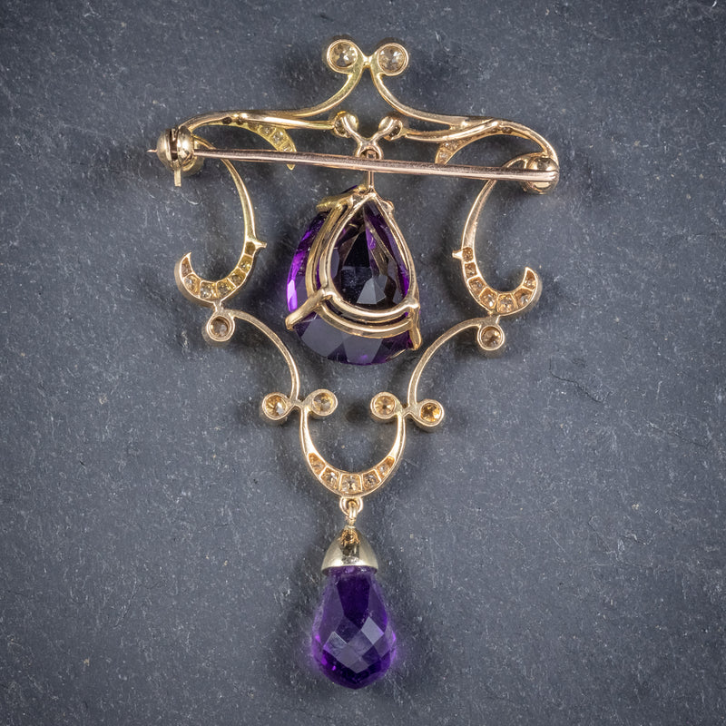 ANTIQUE EDWARDIAN DIAMOND AMETHYST BROOCH 18CT GOLD CIRCA 1910 BACK