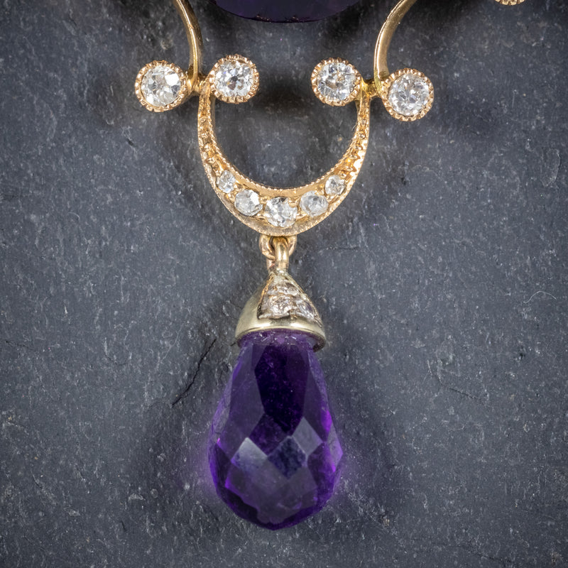 ANTIQUE EDWARDIAN DIAMOND AMETHYST BROOCH 18CT GOLD CIRCA 1910 DROPPER