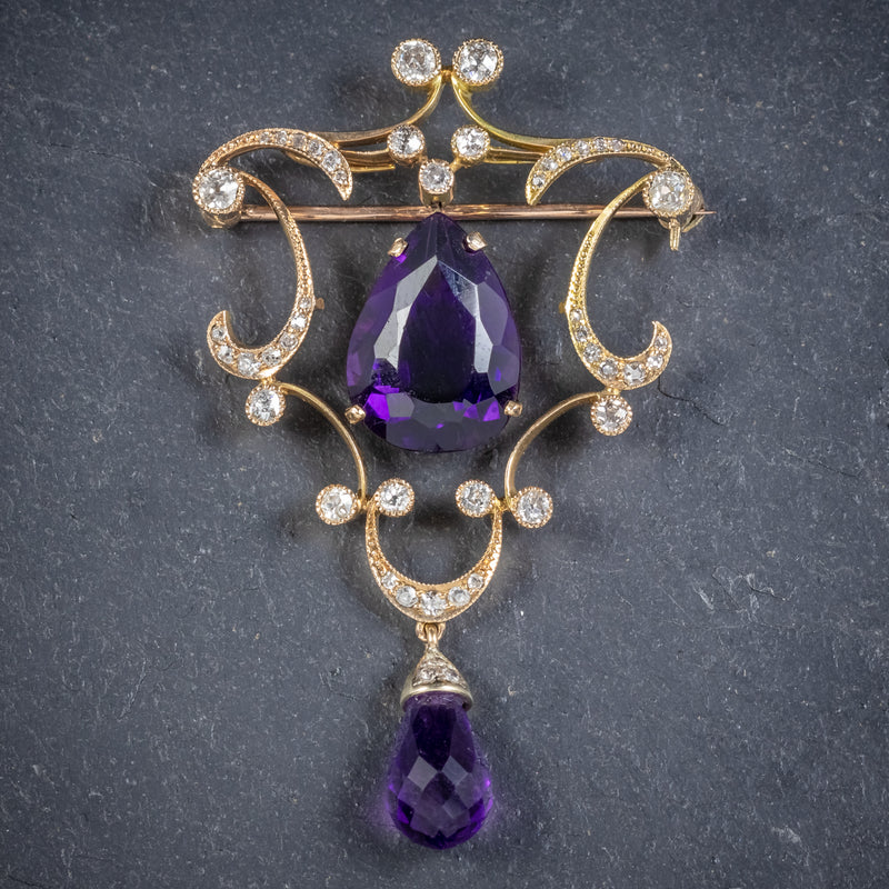 ANTIQUE EDWARDIAN DIAMOND AMETHYST BROOCH 18CT GOLD CIRCA 1910 FRONT