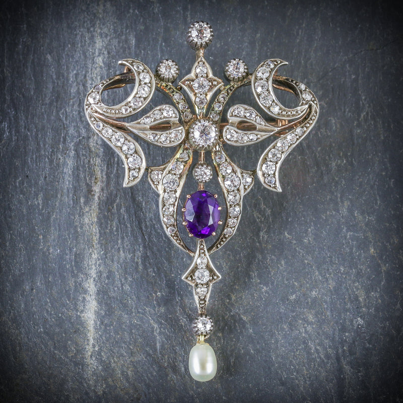 ANTIQUE EDWARDIAN DIAMOND BROOCH AMETHYST PEARL PLATINUM 18CT GOLD CIRCA 1910 FRONT