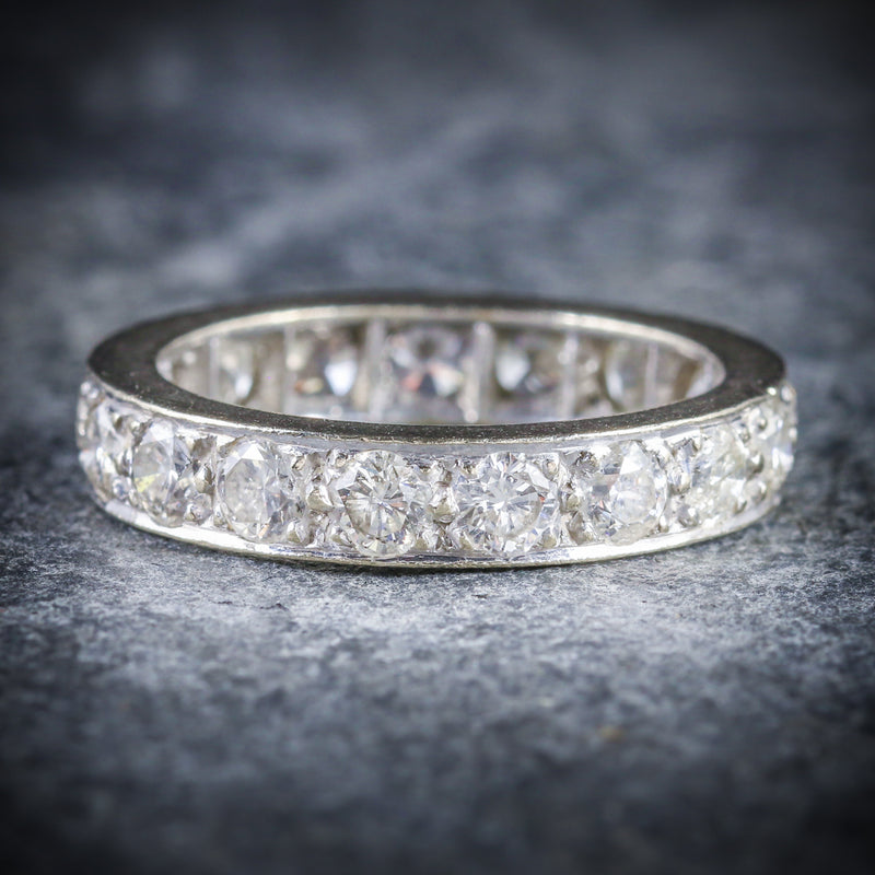 ANTIQUE EDWARDIAN DIAMOND ETERNITY RING PLATINUM CIRCA 1915 FRONT