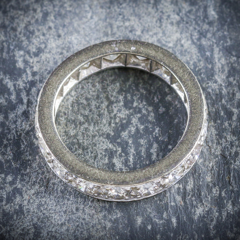 ANTIQUE EDWARDIAN DIAMOND ETERNITY RING PLATINUM CIRCA 1915 TOP