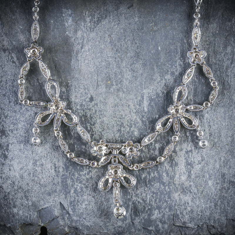 ANTIQUE EDWARDIAN DIAMOND NECKLACE PLATINUM CIRCA 1910 BACK