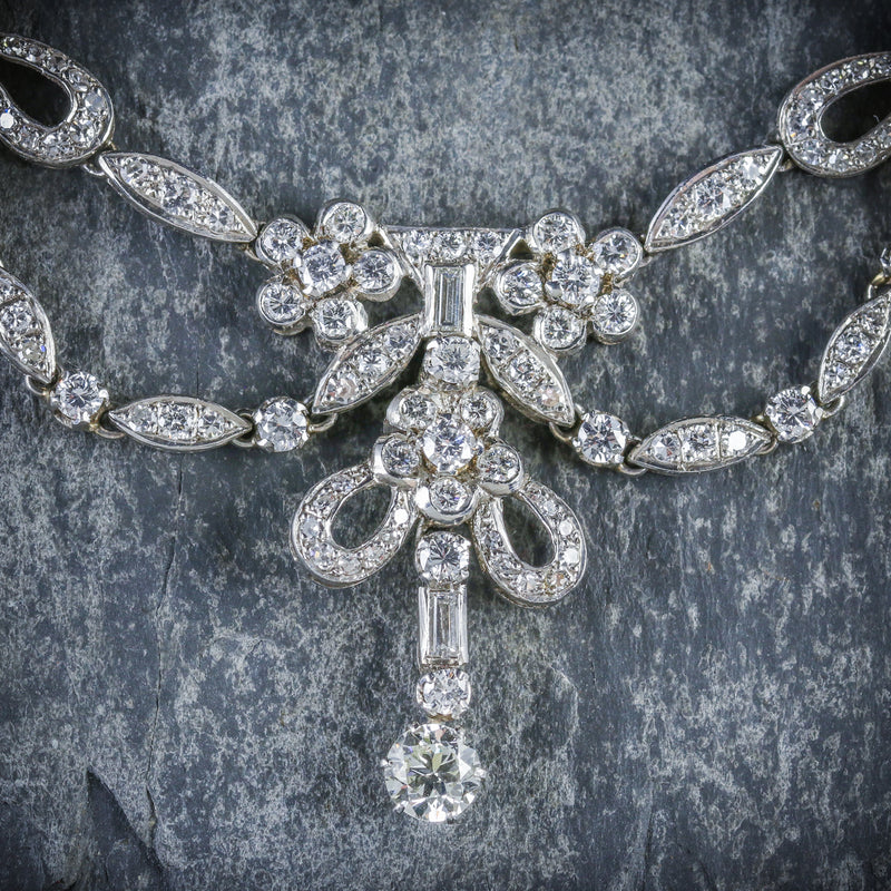 ANTIQUE EDWARDIAN DIAMOND NECKLACE PLATINUM CIRCA 1910 CLOSEUP