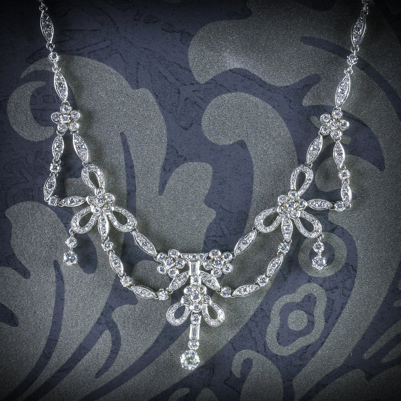 ANTIQUE EDWARDIAN DIAMOND NECKLACE PLATINUM CIRCA 1910 COVER