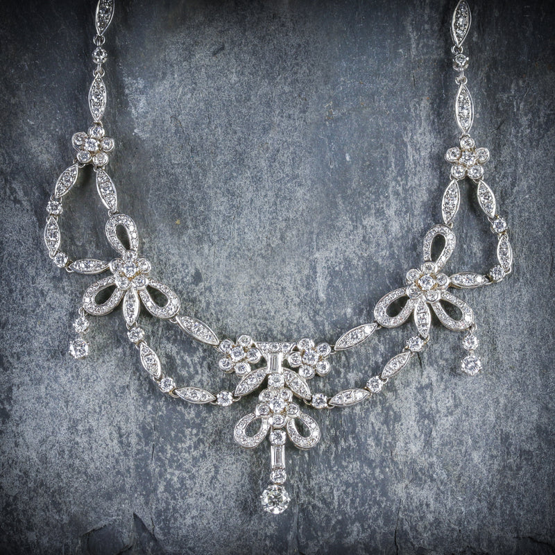 ANTIQUE EDWARDIAN DIAMOND NECKLACE PLATINUM CIRCA 1910 FRONT