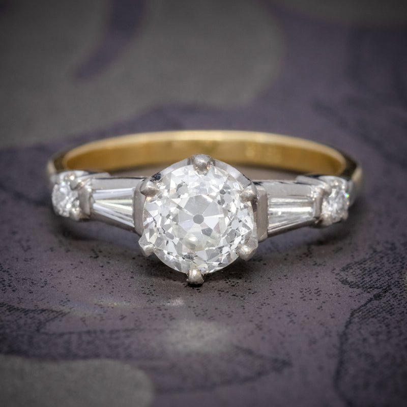 ANTIQUE EDWARDIAN DIAMOND RING 1.49CT DIAMOND SOLITAIRE 18CT GOLD PLATINUM CIRCA 1910 COVER