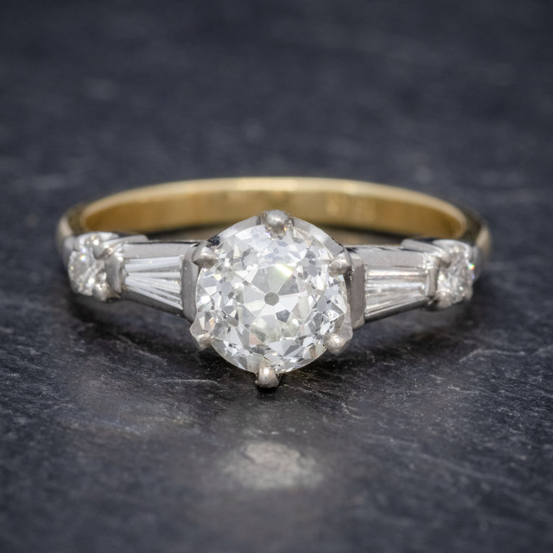 ANTIQUE EDWARDIAN DIAMOND RING 1.49CT DIAMOND SOLITAIRE 18CT GOLD PLATINUM CIRCA 1910 FRONT
