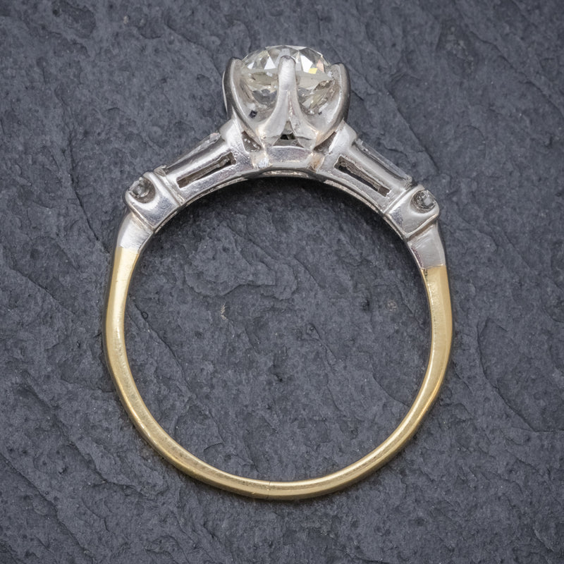 ANTIQUE EDWARDIAN DIAMOND RING 1.49CT DIAMOND SOLITAIRE 18CT GOLD PLATINUM CIRCA 1910 TOP