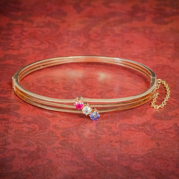 ANTIQUE EDWARDIAN DIAMOND SAPPHIRE RUBY BANGLE 15CT ROSE GOLD CIRCA 1910 COVER