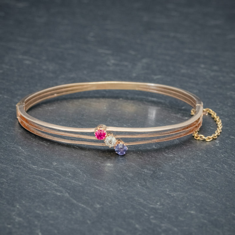 ANTIQUE EDWARDIAN DIAMOND SAPPHIRE RUBY BANGLE 15CT ROSE GOLD CIRCA 1910 front