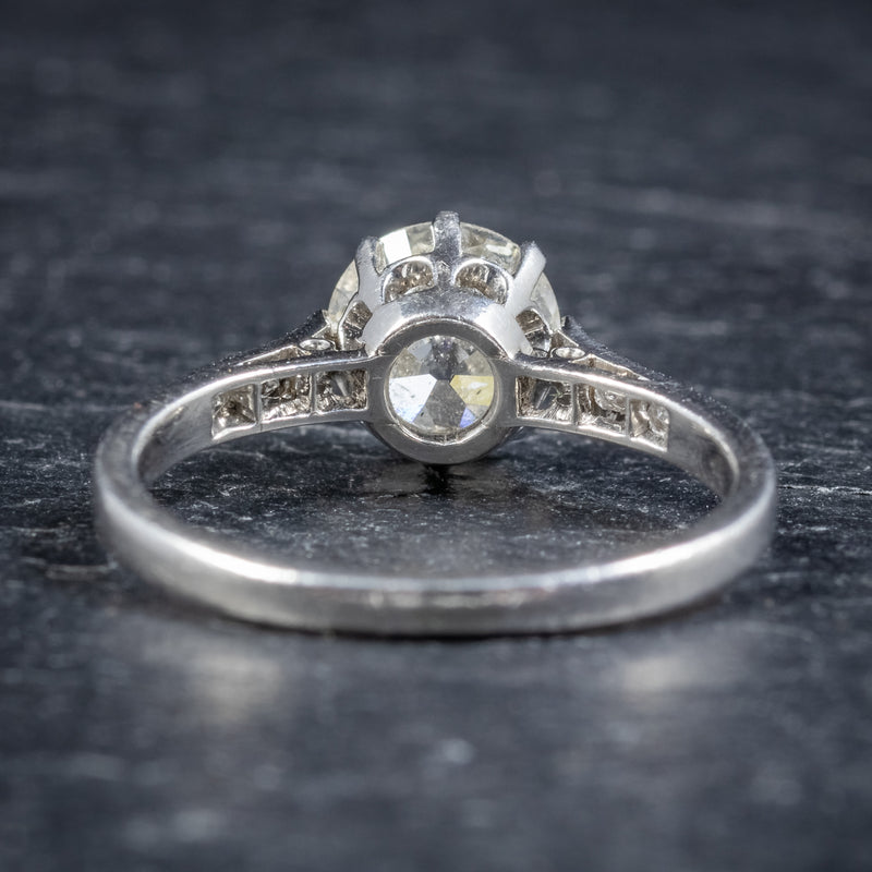 ANTIQUE EDWARDIAN DIAMOND SOLITAIRE RING PLATINUM ENGAGEMENT RING CIRCA 1910 BACK