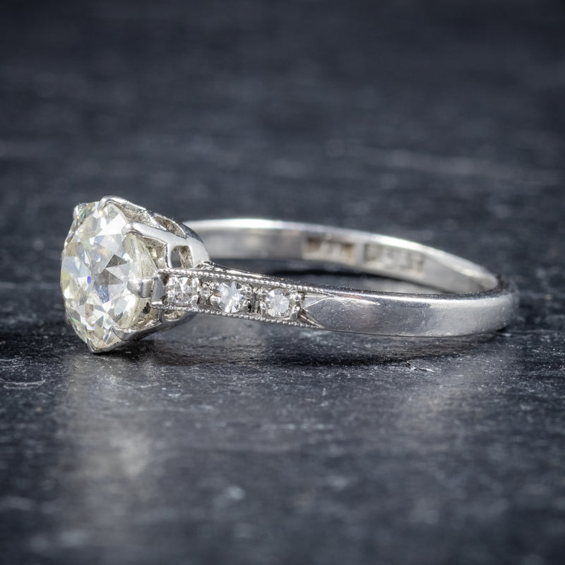 ANTIQUE EDWARDIAN DIAMOND SOLITAIRE RING PLATINUM ENGAGEMENT RING CIRCA 1910 SIDE