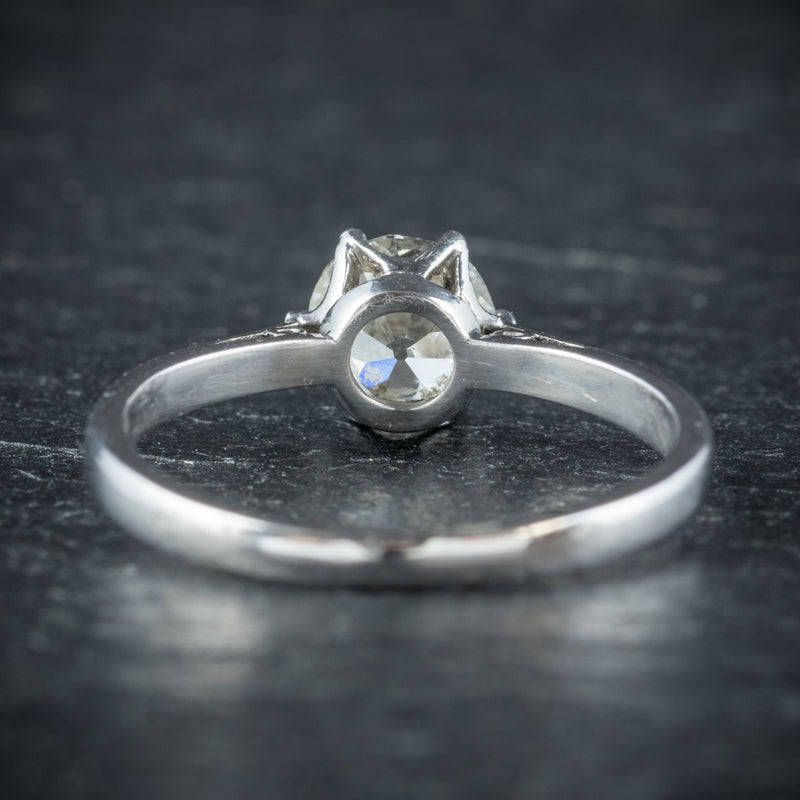 Antique Edwardian Diamond Engagement Ring Platinum Circa 1910 BACK