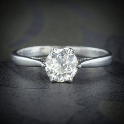 Antique Edwardian Diamond Engagement Ring Platinum Circa 1910 COVER