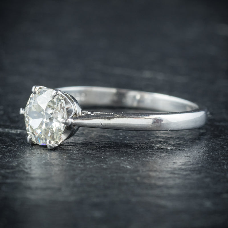 Antique Edwardian Diamond Engagement Ring Platinum Circa 1910 SIDE