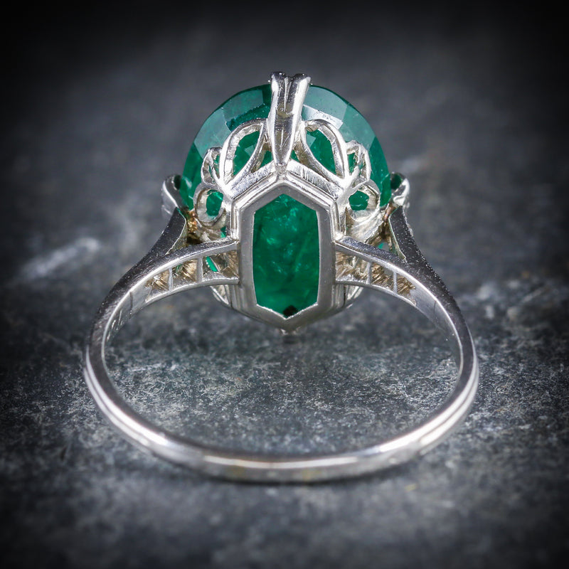 ANTIQUE EDWARDIAN EMERALD DIAMOND RING PLATINUM CIRCA 1910 BACK