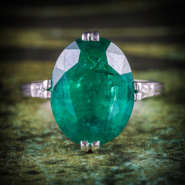 ANTIQUE EDWARDIAN EMERALD DIAMOND RING PLATINUM CIRCA 1910 COVER