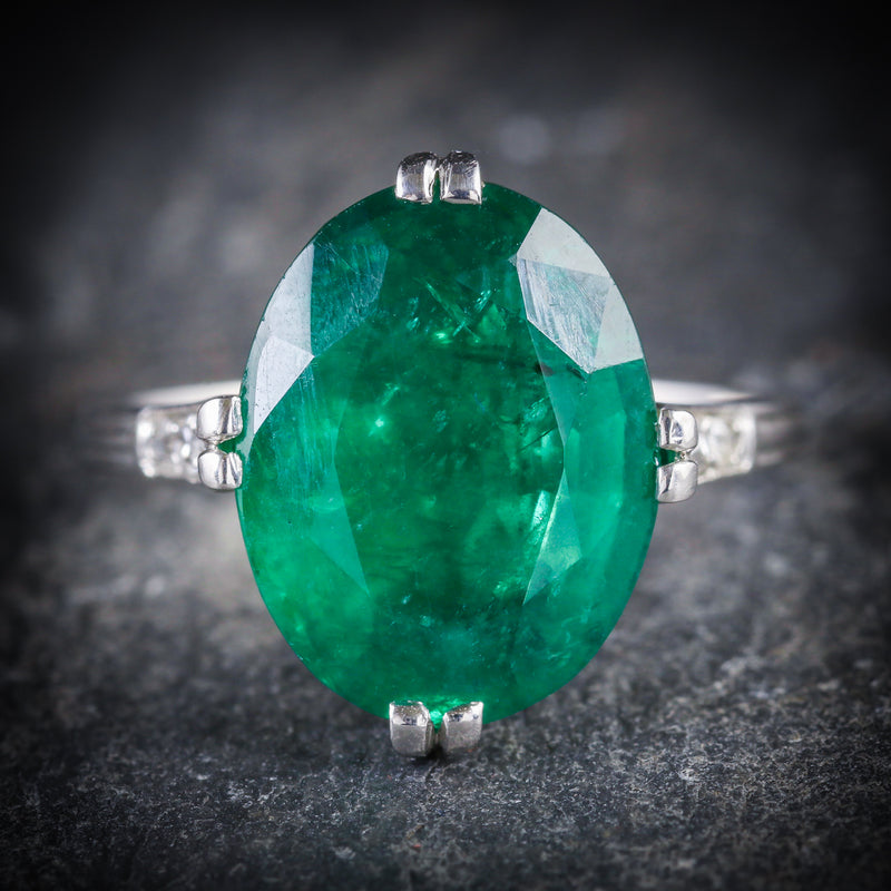 ANTIQUE EDWARDIAN EMERALD DIAMOND RING PLATINUM CIRCA 1910 FRONT