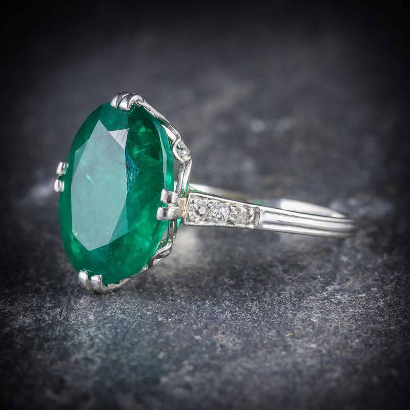 ANTIQUE EDWARDIAN EMERALD DIAMOND RING PLATINUM CIRCA 1910 SIDE