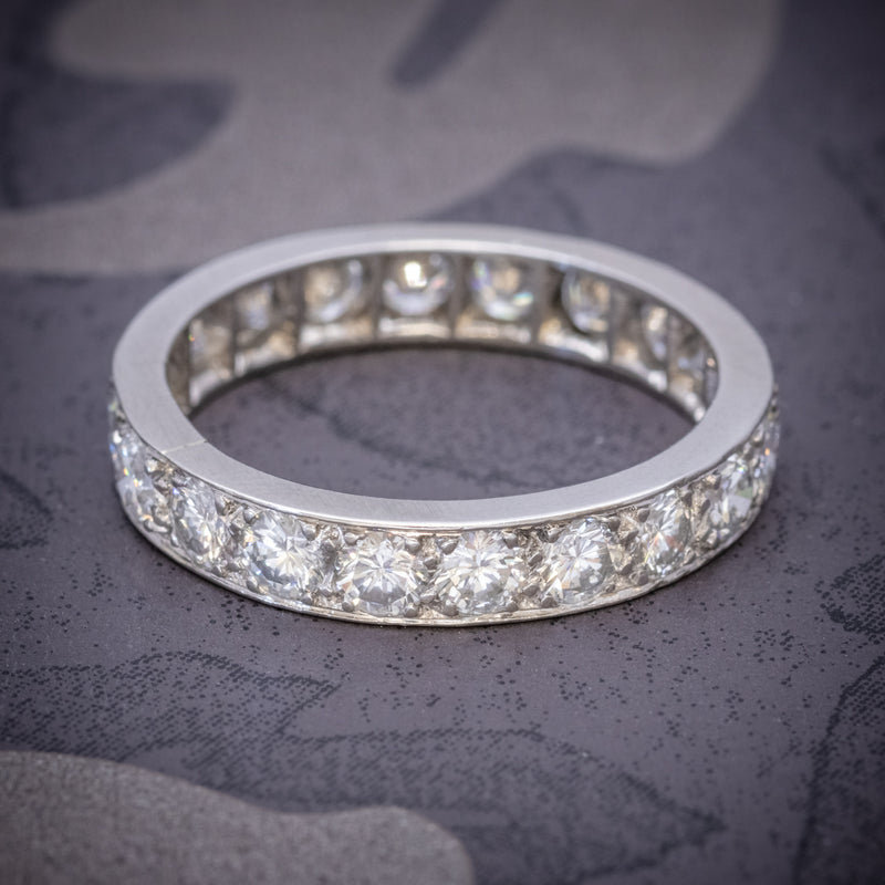 ANTIQUE EDWARDIAN FULL DIAMOND ETERNITY RING 18CT WHITE GOLD CIRCA 1910 COVER